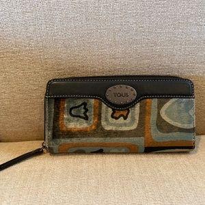 Tous Multi Colored Velvet/Leather Wallet